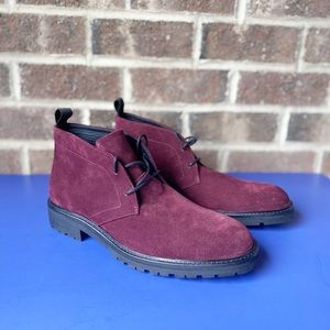 Calvin Klein wine suede chukka ankle boots NWOT